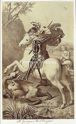 St George and the Dragon.  Original 1880s albumen Photograph