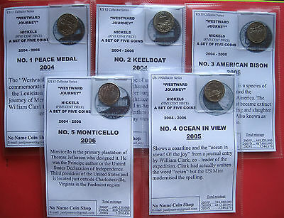 Us  Westward Journey Set Of Five  (Nickel) Coins  2004-6  D Mint  B/uncirculated