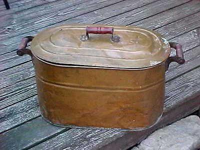 ANTIQUE REVERE COPPER BOILER WASH TUB With LID  and RED WOOD HANDLES