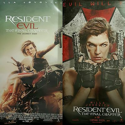 Resident Evil The Final Chapter Official Cinema One Sheet Poster Set X 2