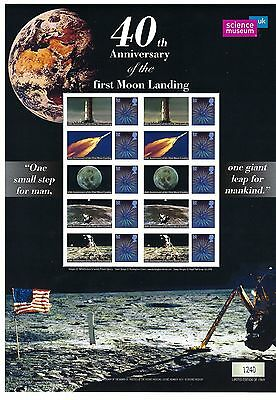 Gb Smilers Sheet 40Th Anniversary Of First Moon Landing Post Free To The Uk.