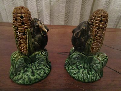 Rare Set Of 2 Majolica Palissy Caldes Da Rainha Corn & Mouse Toothpick Holders