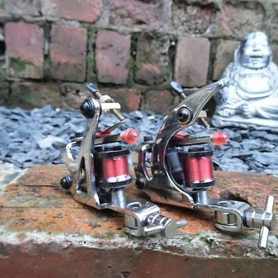 Pro Hand Built Carbon Steel Chrome Tattoo Machines Stilted Coils Shader & Liner
