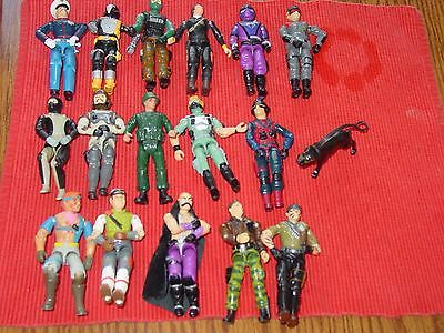 """Lot 16 G I Joe 4"""" Action Figures + one dog 1980's No Weapons/accessories"""