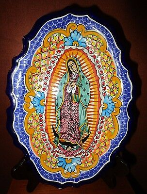 """Hand Painted Religious Madonna/angel Ceramic Wall Plaque  """"del Angel"""""""