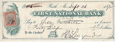 1872 FIRST NATIONAL BANK of BATH,  MAINE   WITH..REVENUE STAMP