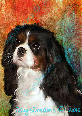 King Charles Cavalier Spaniel Dog Watercolor Print of Painting 8x10