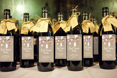 Rustic Personalised wine bottle labels for wedding gifts Thankyou presents x 12