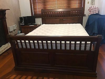 Solid Wood Sleigh Queen Bed and Mattress