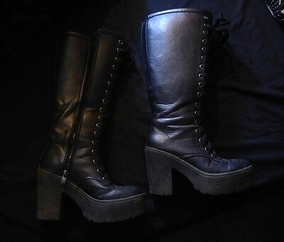 Well worn boots knee high lace up leather look size 4 platform