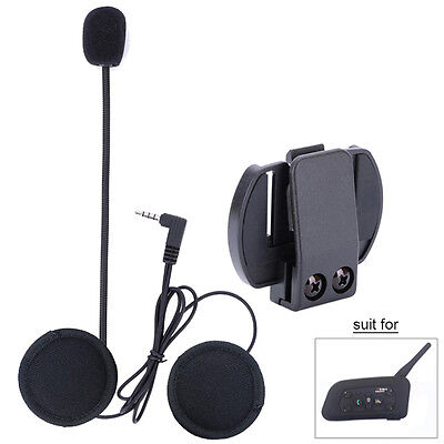 Wired Headset Mic/Speaker+Clip for V6 Motorcycle Bluetooth Helmet Intercom Kits#