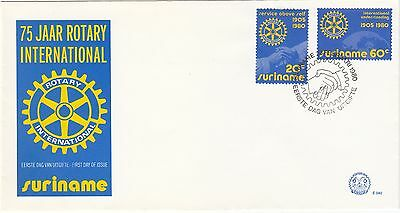 Suriname 1980 Rotary FDC hands