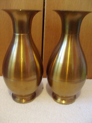 Collectable Pair Of Large Vintage Brass Vases Possibly British