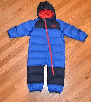 NEW NWT The North Face Boys Infant Lil Snuggler Blue Down Snow Suit 12-18 Months
