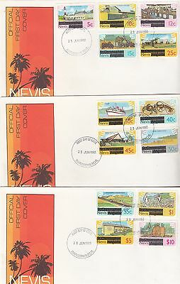 Nevis overprints definitives 1980 3 FDC's agriculture tractor ships radio TV edu