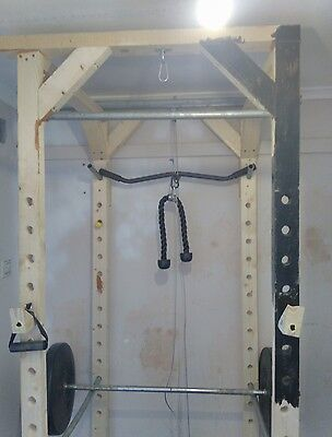 Homemade Power Cage + Punch bag + Weights and Bar + Lat pulldown + Cable Row