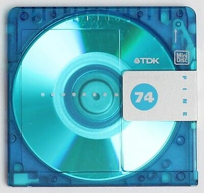 Genuine TDK '74' Translucent Blue MiniDisc 74 Minutes w/ Case