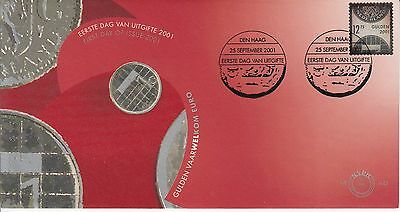 Coins on Stamps 12,75 Gulden silver stamp The Netherlands 2001 FDC