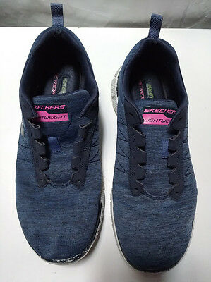 Skechers, Women's Blue Lightweight Lace-Up Sneakers Shoes, Size US 7.5/ EUR 37.5