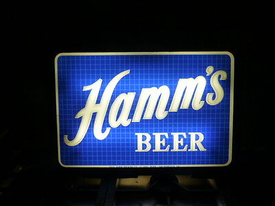 """Hamm's Beer Double Sided Lighted Glass/Metal Advertising Sign - 20.25"""" x 14"""""""