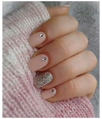 Nude Pink Silver Glitter Rhinestones False Nails Set x10 & Nail File! *Free P&P*