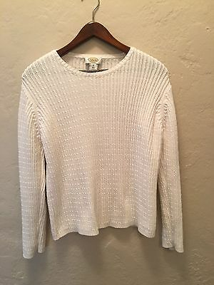 Talbots 100% Cotton White Cable Knit Sweater Women's Size M