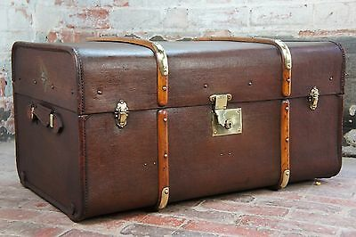 Stunning Antique Brass Bound Tall Banded Trunk