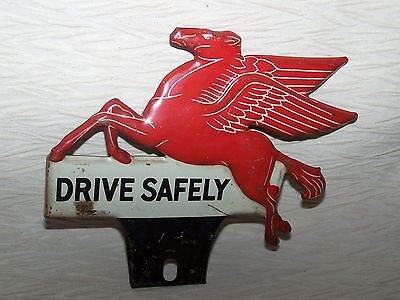 VINTAGE 1940's MOBIL GAS PEGASUS LICENSE PLATE TOPPER ADVERTISING SIGN