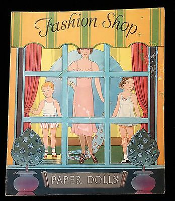 Un-Cut Paper Doll Book - Fashion Shop Paper Dolls Saalfield 1938 Art Deco