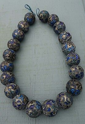 Vintage Chinese Cloisone Enamel Champleve Silver 20 mm Bead Necklace (Cobalt)