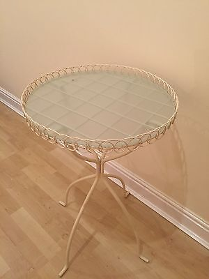 Cream Side Table With Glass Top