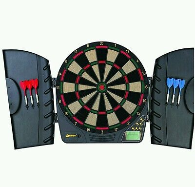 Accudart Volt Electronic Dartboard in Cabinet, LCD Display, 6 Darts, New