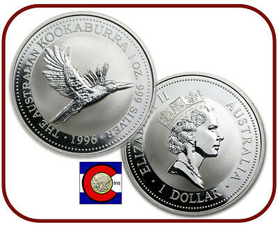 1996  Australia Kookaburra 1 oz. Silver Coin - BU direct from Perth Mint roll