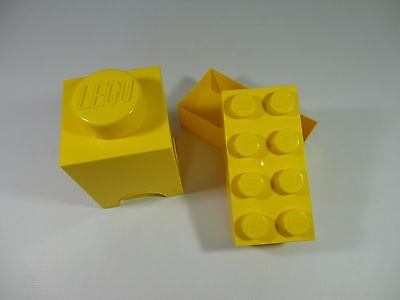 2 x Lego Brick Storage Box Tubs - 1 & 8 Studs - Containers RARE Official Lunch