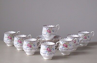Royal Albert Petit Point Footed Demitasse Cups and Saucers, Set of (8)