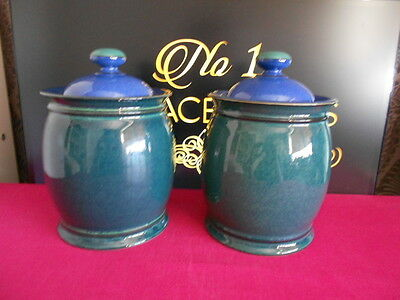 "2 x Denby Metz Lidded Storage Jar Canister 8"" High Blue Green"