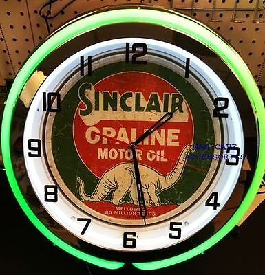 """18"""" SINCLAIR Opaline Motor Oil Gas Station Distressed Sign Double Neon Clock"""