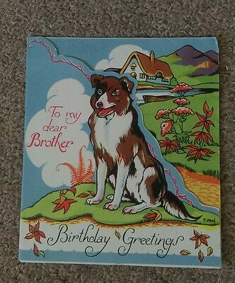 True vintage greeting card Brother not used. F.Woof