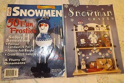 LOT OF 2: Snowman Crafts Book AND Crafts Snowmen 50 Fun Frosties Crafts Magazine