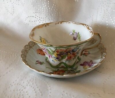 Dresden Antique Odd But Well Matched Cup & Saucer Hand Painted