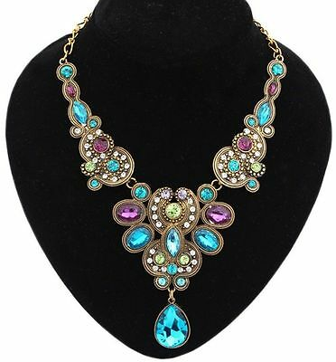 Fashion Jewelry Women Crystal Charm Chain Pendant Statement Collar Bib Necklace