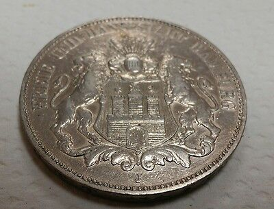 GERMANY HAMBURG 1902-J SILVER 5 MARK .8037ASW KM610 Rare