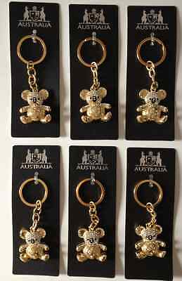 6 x Australian Souvenir Solid Metal Key Ring w Diamond Koala