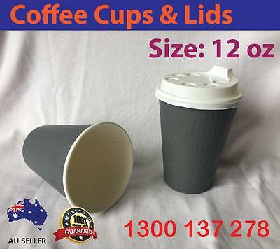 12OZ 375ML Disposable Paper Coffee Cups Large Double Wall Grey Cafe Takeaway