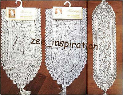 2 x COTTON/POLY LACE TABLE RUNNER ( white, beige) 33x183cm