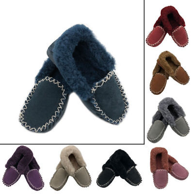 Mens/Womens Sheepskin Moccasin Slippers, slip on 8 colours, Size 4 to 13