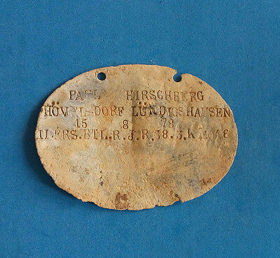 ORIGINAL WW1 RELC: German Soldiers DOG TAG of 1916