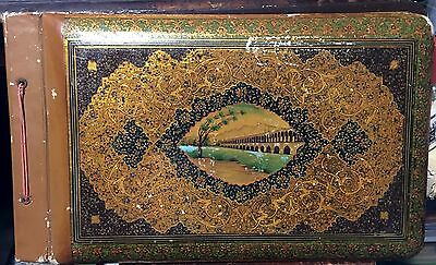 Antique Persian Qajar Lacquered Photo Album with Isfahan Photos