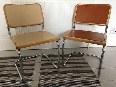 Pair Of Mid Century Modern Chrome & Leather S32 Marcel Breuer Chairs