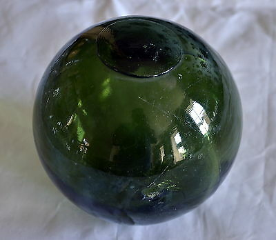 """Vintage Green Glass """"witches Ball"""" Fishing Float Over 5 Inches Diameter Lot 3"""